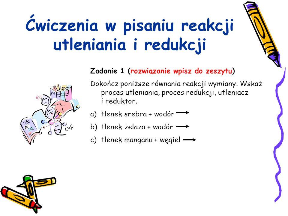 Ćwiczenia w pisaniu reakcji utleniania i redukcji