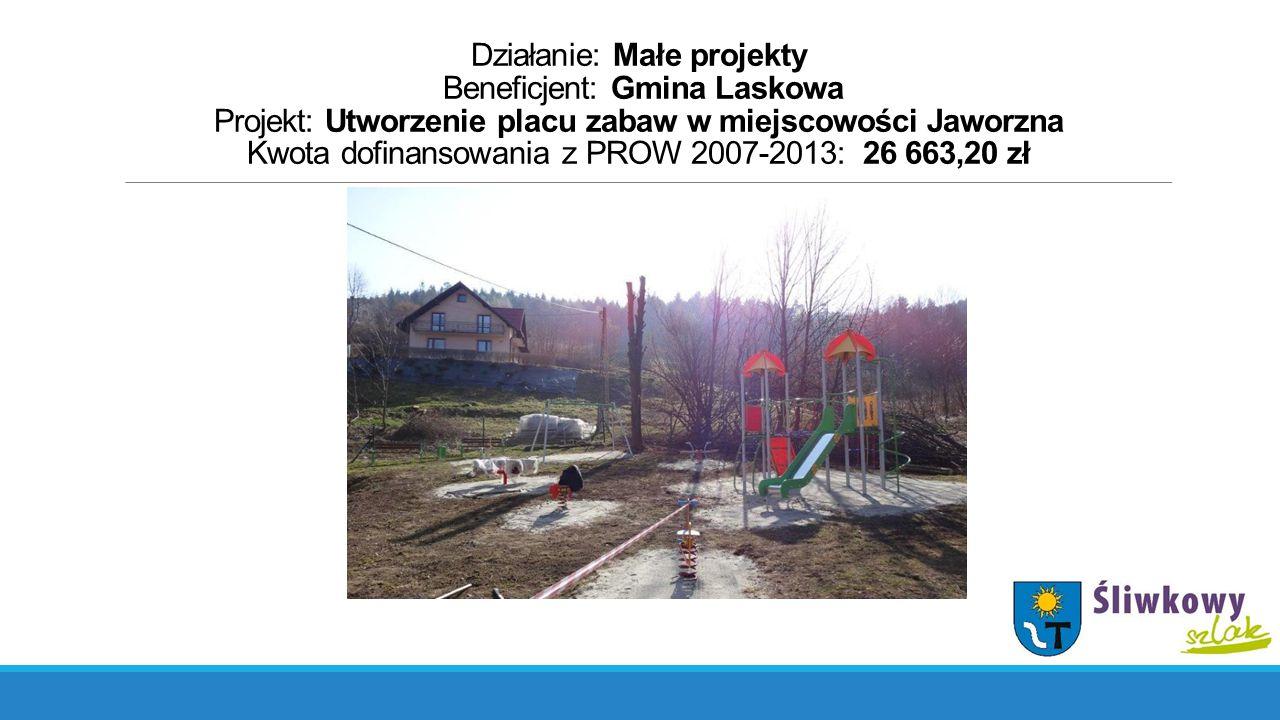 Działanie: Małe projekty Beneficjent: Gmina Laskowa Projekt: Utworzenie placu zabaw w miejscowości Jaworzna Kwota dofinansowania z PROW 2007-2013: 26 663,20 zł