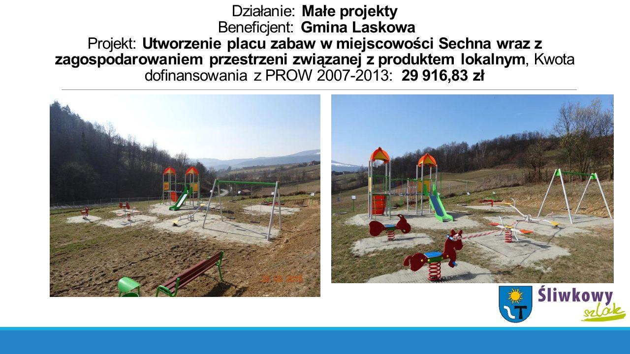 Działanie: Małe projekty Beneficjent: Gmina Laskowa Projekt: Utworzenie placu zabaw w miejscowości Sechna wraz z zagospodarowaniem przestrzeni związanej z produktem lokalnym, Kwota dofinansowania z PROW 2007-2013: 29 916,83 zł