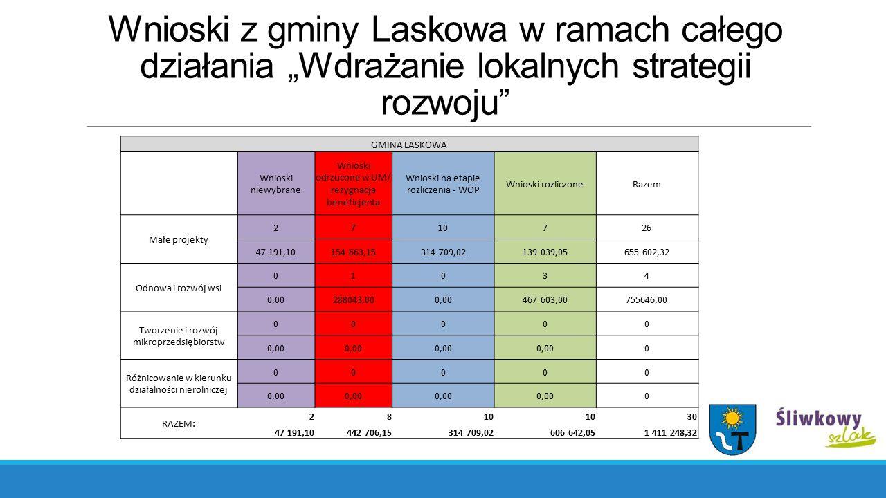 """Wnioski z gminy Laskowa w ramach całego działania """"Wdrażanie lokalnych strategii rozwoju"""