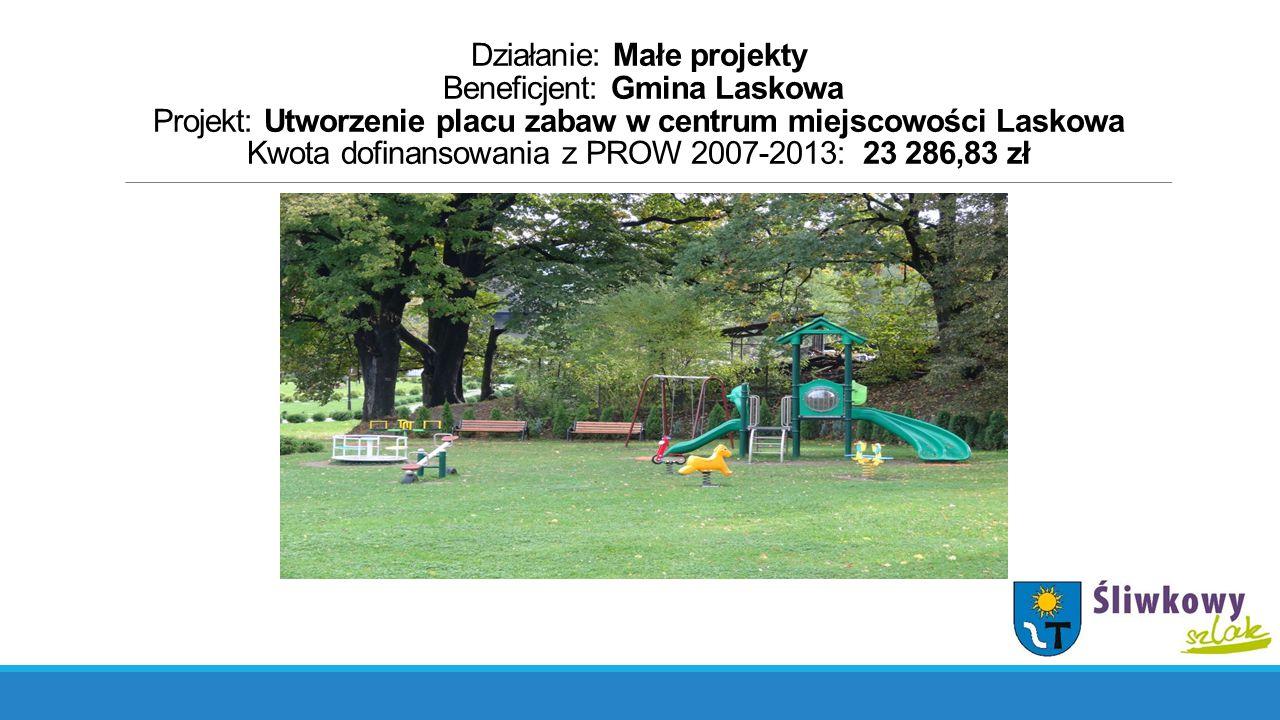 Działanie: Małe projekty Beneficjent: Gmina Laskowa Projekt: Utworzenie placu zabaw w centrum miejscowości Laskowa Kwota dofinansowania z PROW 2007-2013: 23 286,83 zł