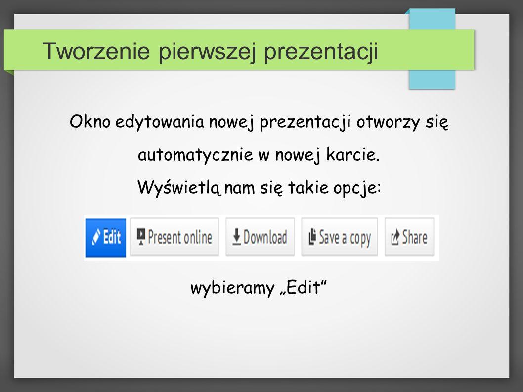 Tworzenie pierwszej prezentacji
