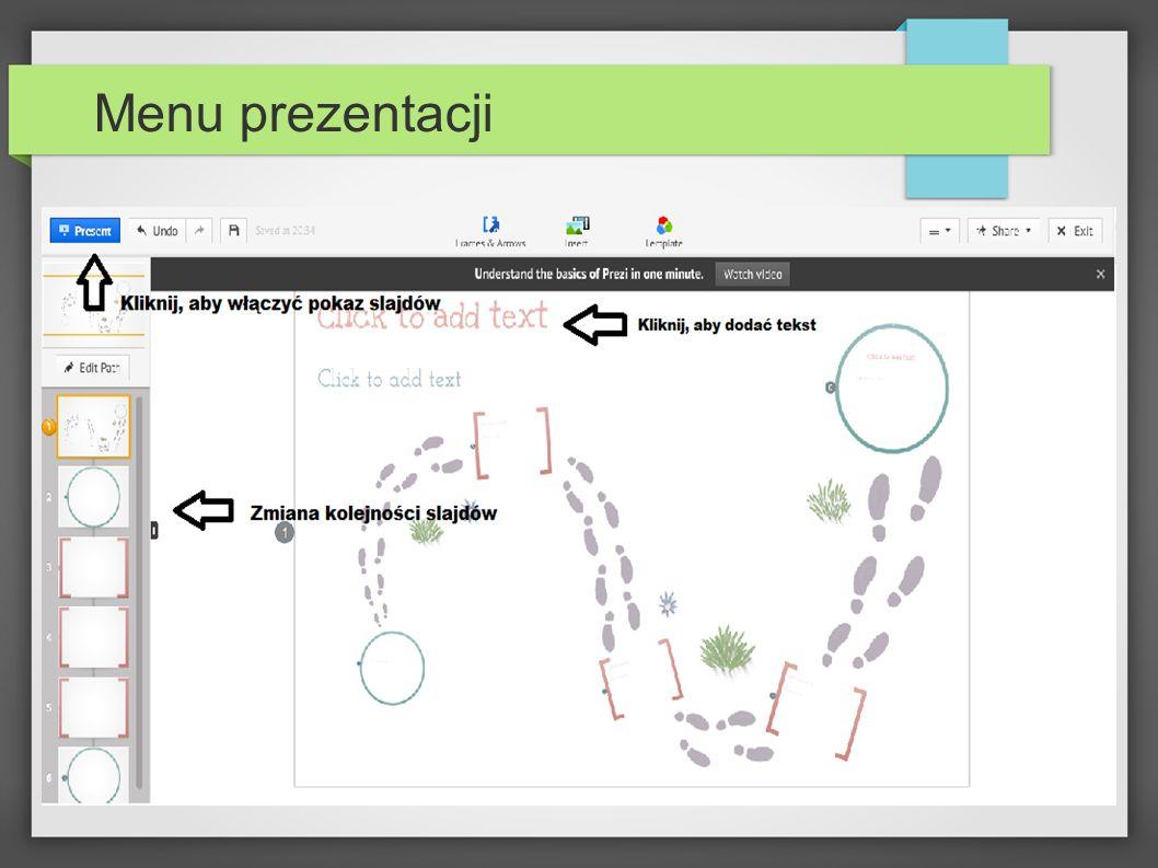 Menu prezentacji