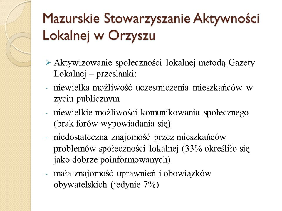 Mazurskie Stowarzyszanie Aktywności Lokalnej w Orzyszu