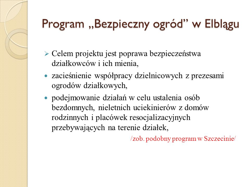 """Program """"Bezpieczny ogród w Elblągu"""