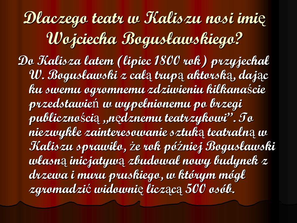 Dlaczego teatr w Kaliszu nosi imię Wojciecha Bogusławskiego