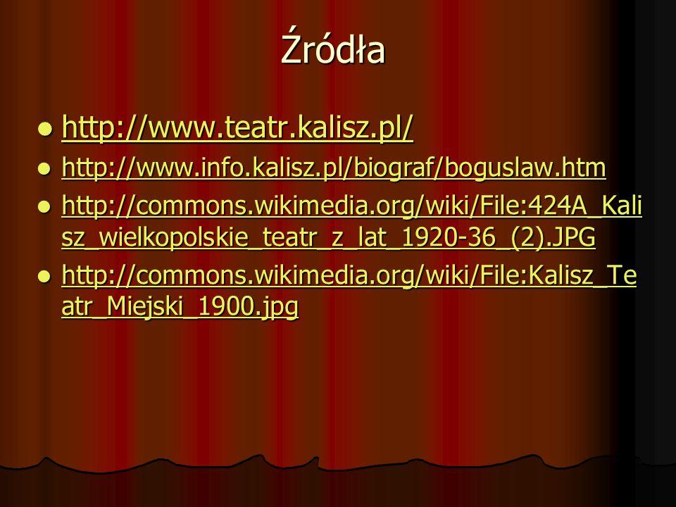 Źródła http://www.teatr.kalisz.pl/