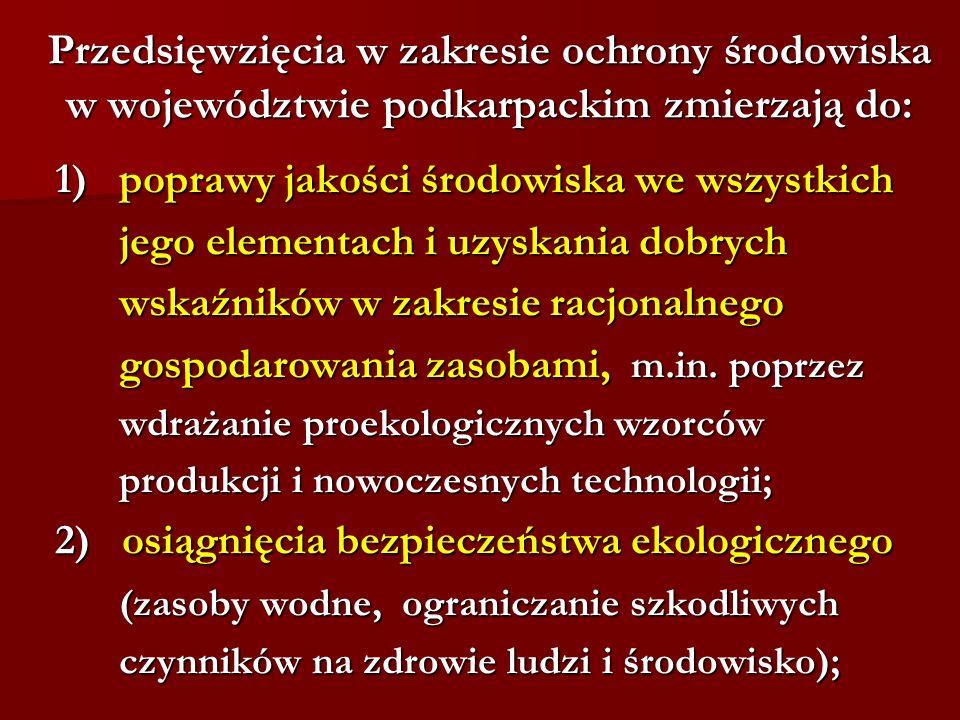Przedsięwzięcia w zakresie ochrony środowiska w województwie podkarpackim zmierzają do: