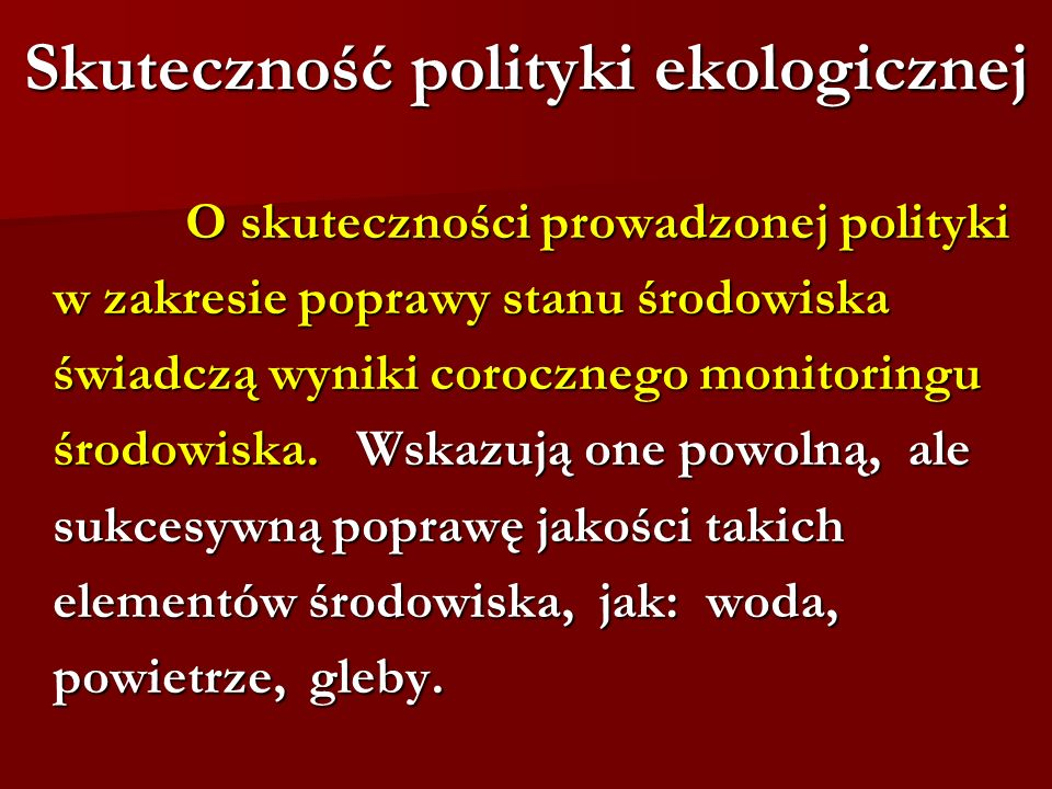 Skuteczność polityki ekologicznej
