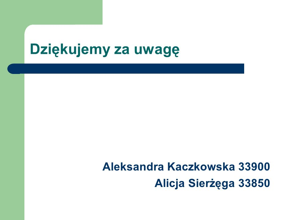 Dziękujemy za uwagę Aleksandra Kaczkowska 33900 Alicja Sierżęga 33850