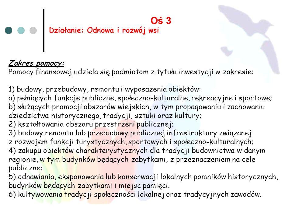 Oś 3 Działanie: Odnowa i rozwój wsi Zakres pomocy: