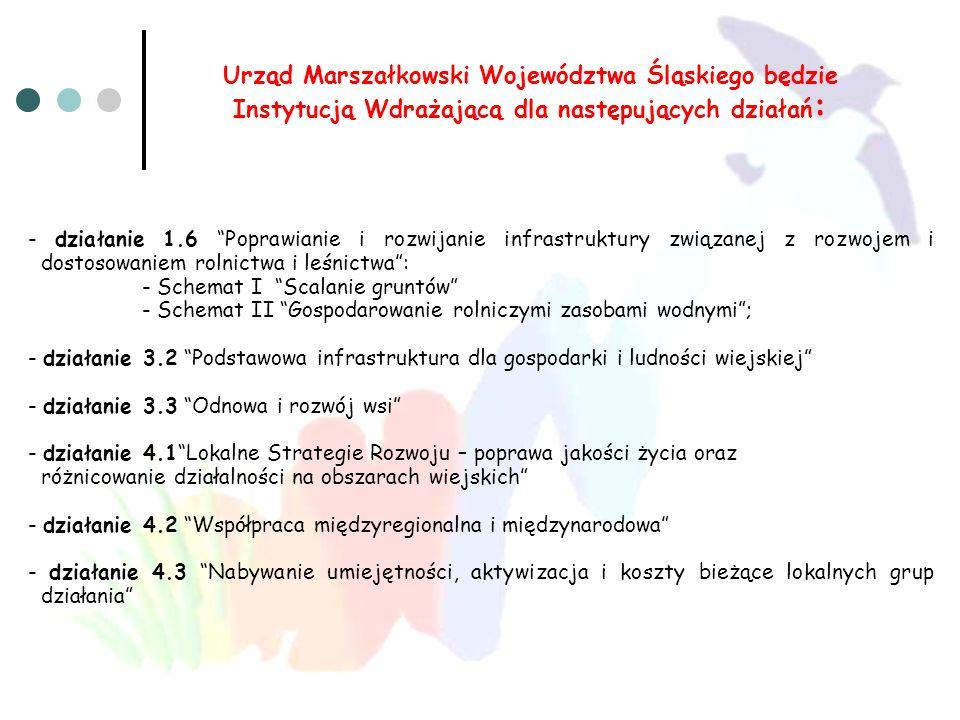 Urząd Marszałkowski Województwa Śląskiego będzie Instytucją Wdrażającą dla następujących działań: