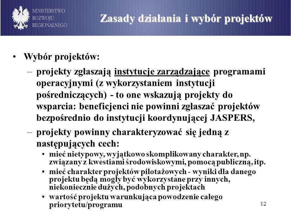 Zasady działania i wybór projektów