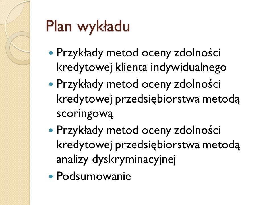 Plan wykładu Przykłady metod oceny zdolności kredytowej klienta indywidualnego.