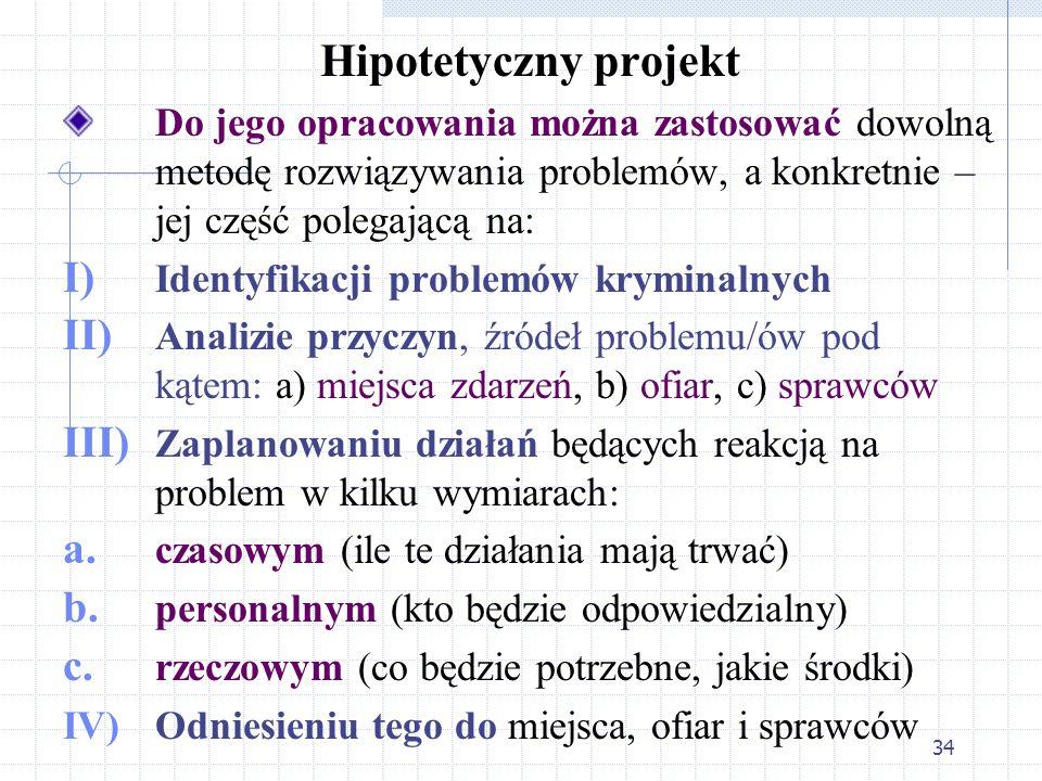 Hipotetyczny projekt Do jego opracowania można zastosować dowolną metodę rozwiązywania problemów, a konkretnie – jej część polegającą na: