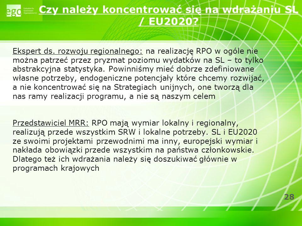Czy należy koncentrować się na wdrażaniu SL / EU2020
