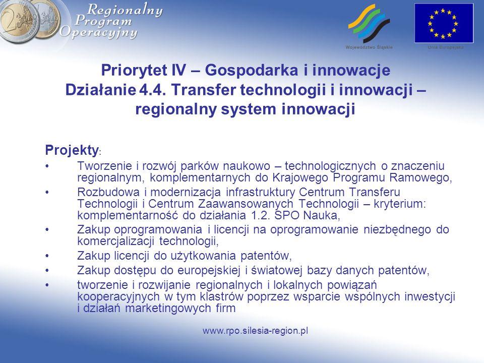 Priorytet IV – Gospodarka i innowacje Działanie 4. 4