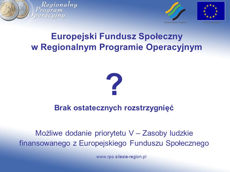Europejski Fundusz Społeczny w Regionalnym Programie Operacyjnym