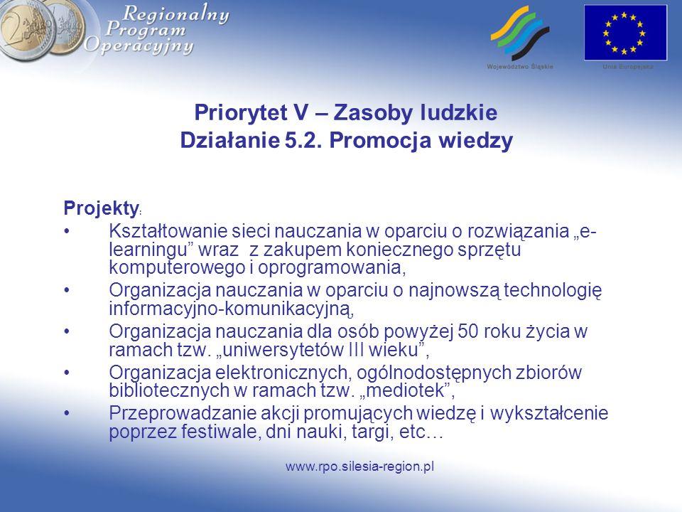 Priorytet V – Zasoby ludzkie Działanie 5.2. Promocja wiedzy