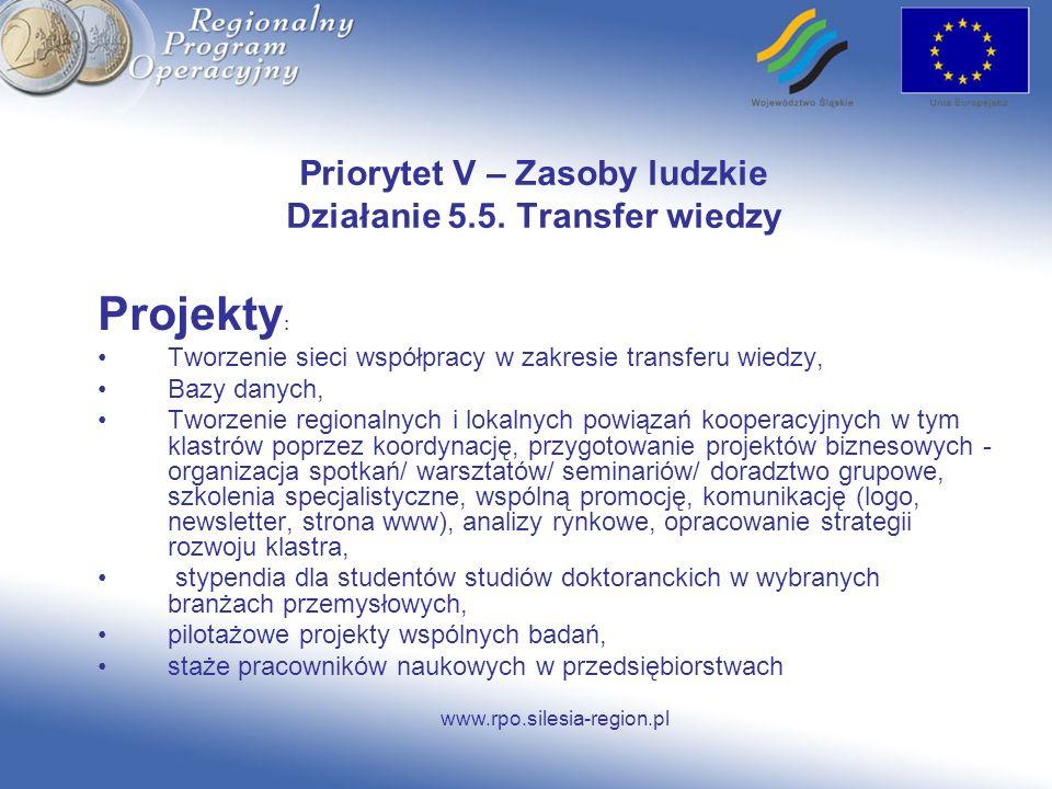 Priorytet V – Zasoby ludzkie Działanie 5.5. Transfer wiedzy