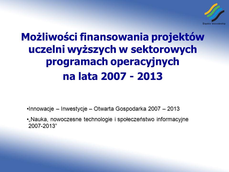 Możliwości finansowania projektów uczelni wyższych w sektorowych programach operacyjnych na lata 2007 - 2013