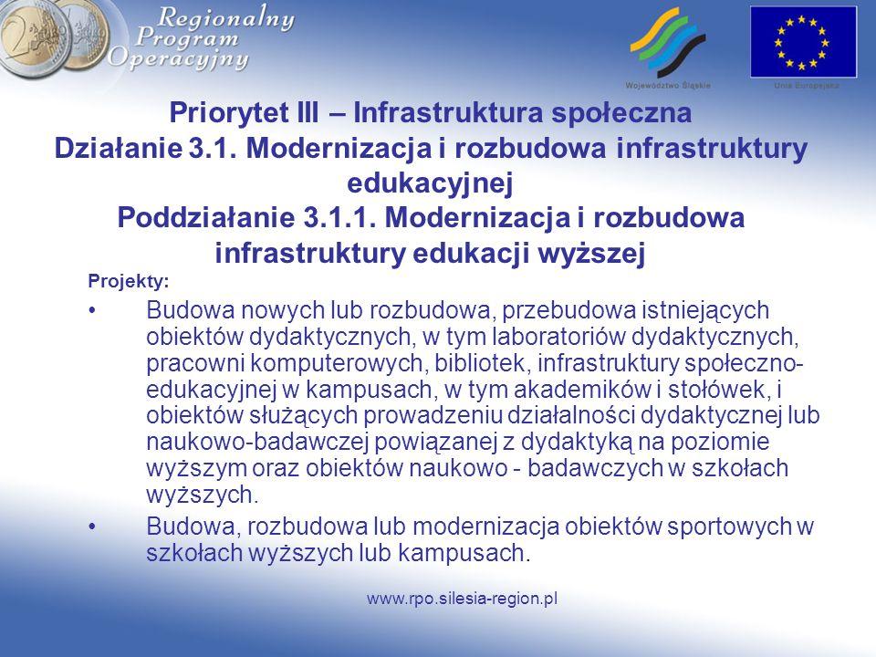 Priorytet III – Infrastruktura społeczna Działanie 3. 1