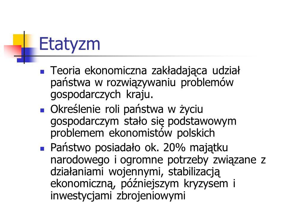 Etatyzm Teoria ekonomiczna zakładająca udział państwa w rozwiązywaniu problemów gospodarczych kraju.