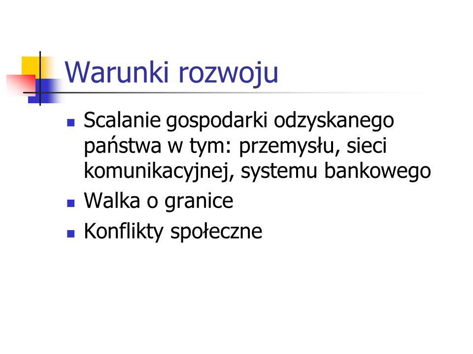 Warunki rozwoju Scalanie gospodarki odzyskanego państwa w tym: przemysłu, sieci komunikacyjnej, systemu bankowego.