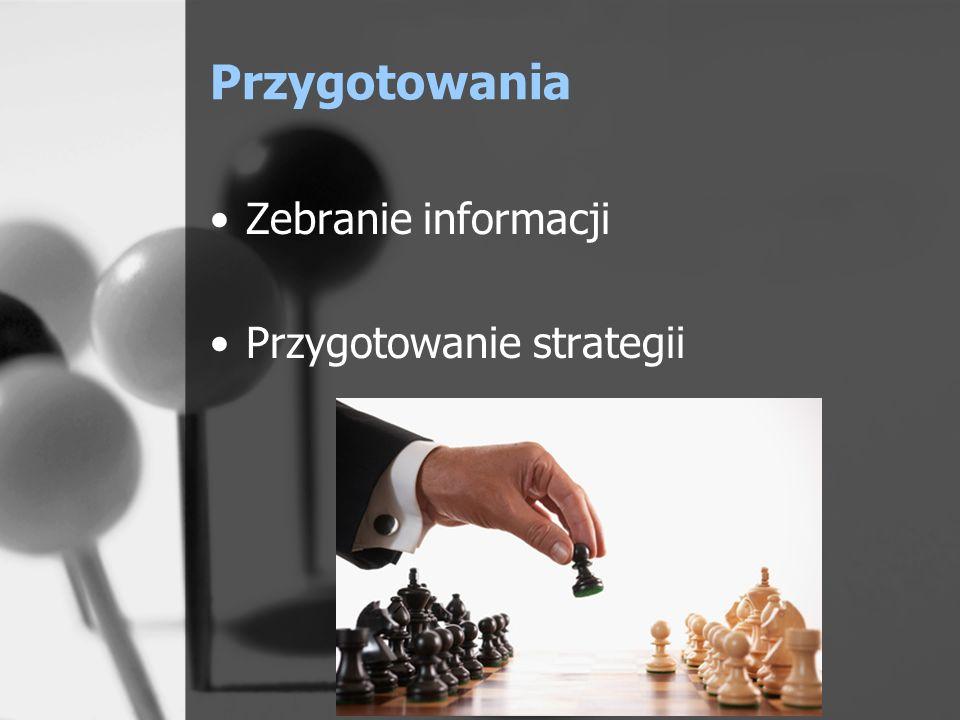 Przygotowania Zebranie informacji Przygotowanie strategii
