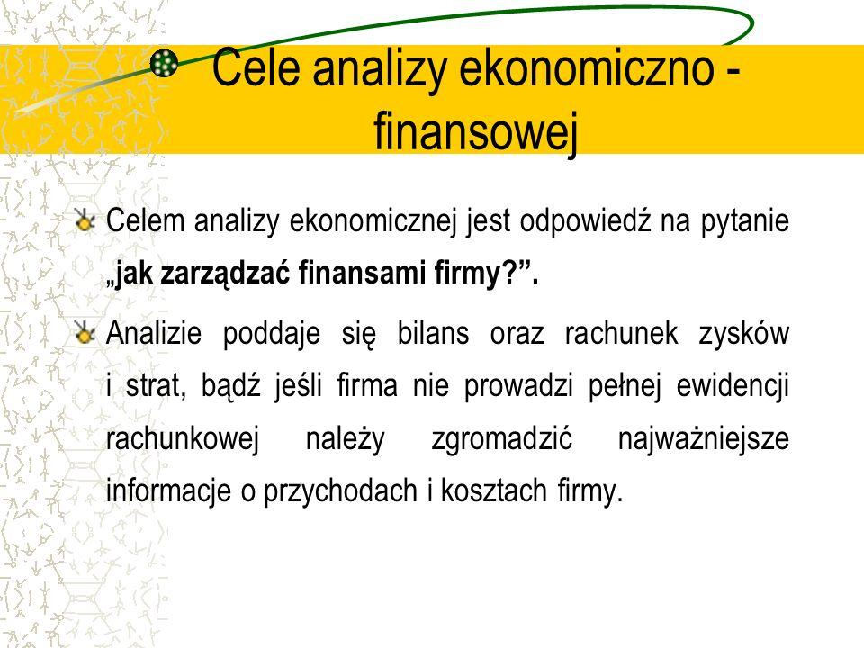 Cele analizy ekonomiczno - finansowej