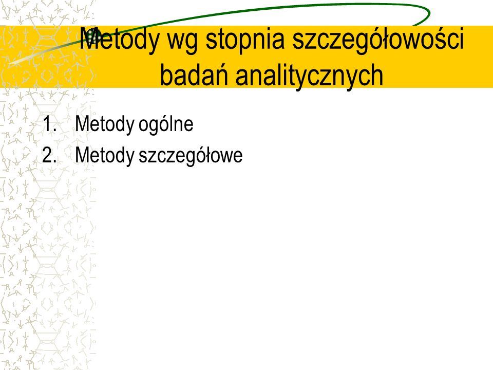 Metody wg stopnia szczegółowości badań analitycznych