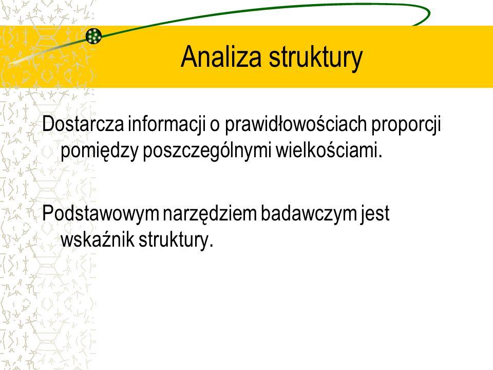 Analiza struktury Dostarcza informacji o prawidłowościach proporcji pomiędzy poszczególnymi wielkościami.
