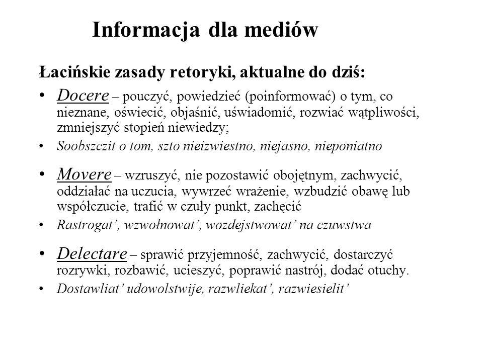Informacja dla mediów Łacińskie zasady retoryki, aktualne do dziś: