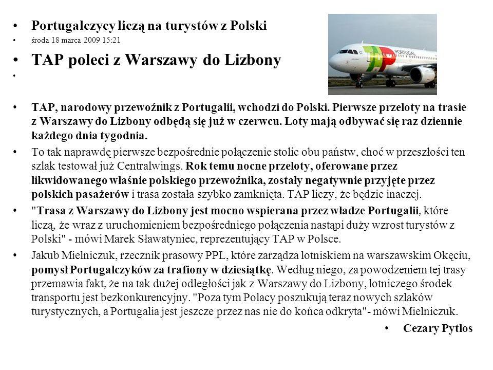 TAP poleci z Warszawy do Lizbony