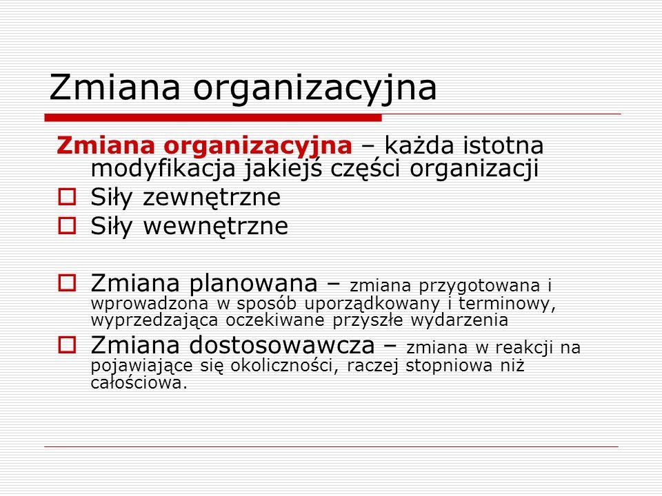 Zmiana organizacyjna Zmiana organizacyjna – każda istotna modyfikacja jakiejś części organizacji. Siły zewnętrzne.