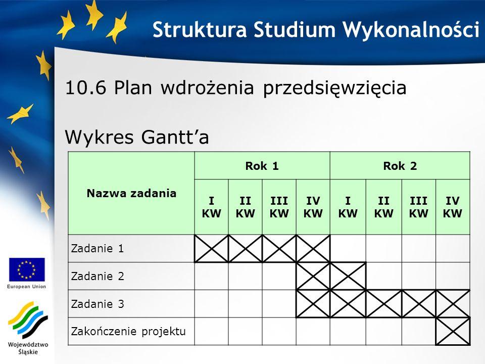 10.6 Plan wdrożenia przedsięwzięcia Wykres Gantt'a