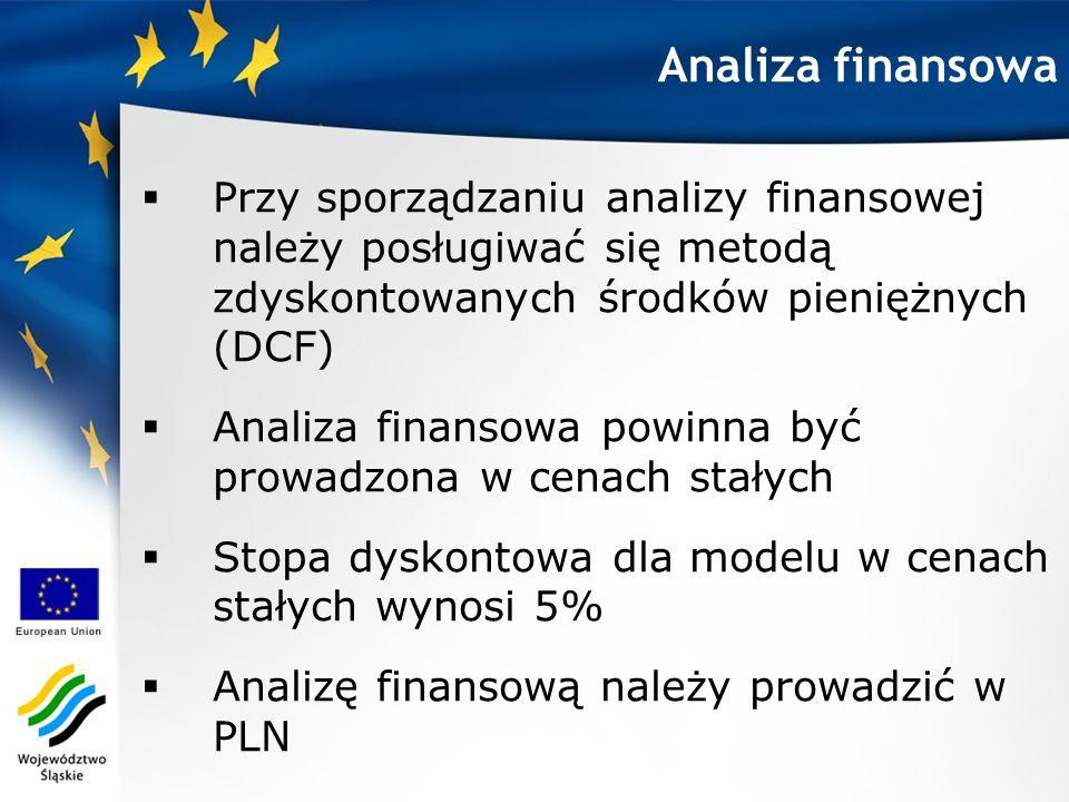 Analiza finansowa Przy sporządzaniu analizy finansowej należy posługiwać się metodą zdyskontowanych środków pieniężnych (DCF)