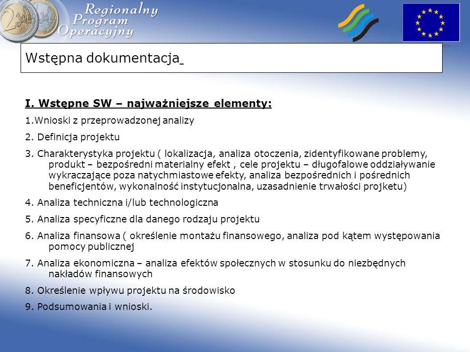 Wstępna dokumentacja I. Wstępne SW – najważniejsze elementy: