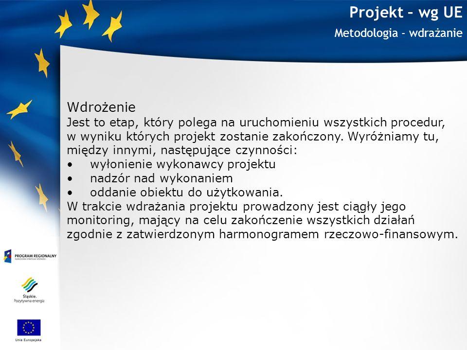 Projekt – wg UE Wdrożenie Metodologia - wdrażanie