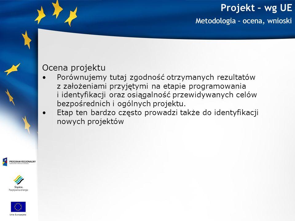 Projekt – wg UE Ocena projektu Metodologia – ocena, wnioski