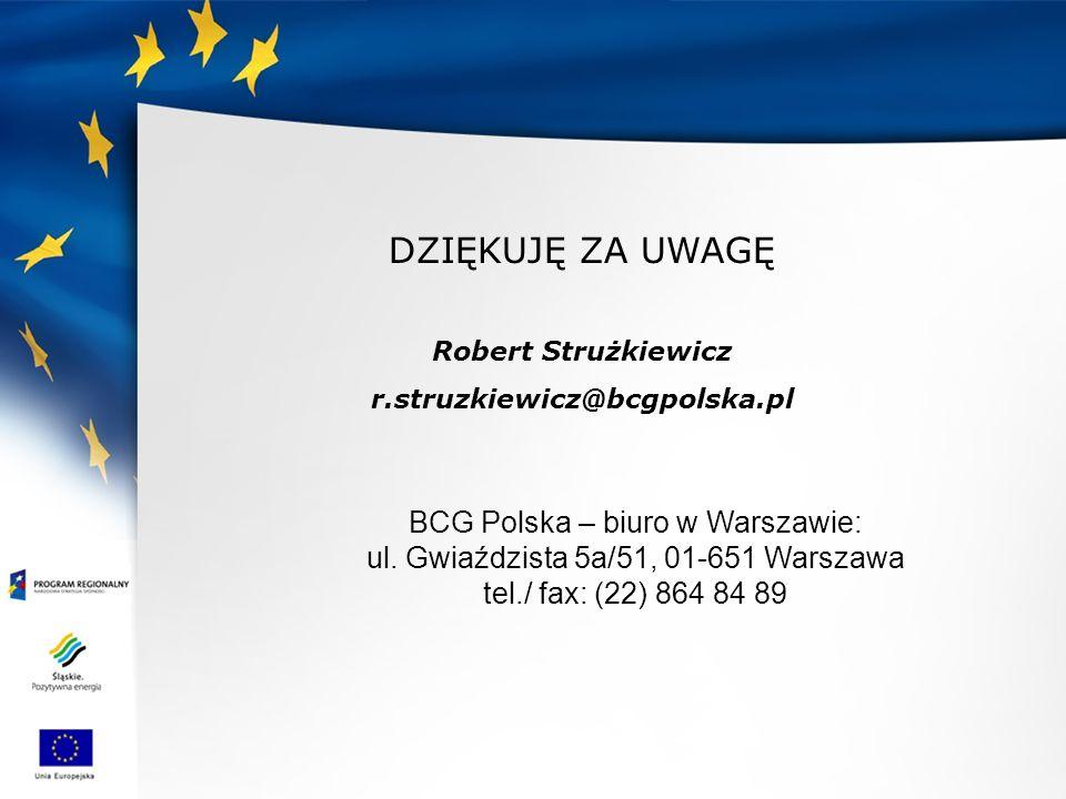 DZIĘKUJĘ ZA UWAGĘ BCG Polska – biuro w Warszawie: