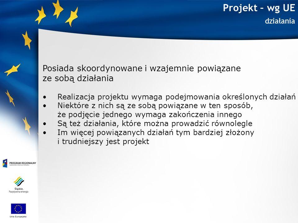 Projekt – wg UE Posiada skoordynowane i wzajemnie powiązane
