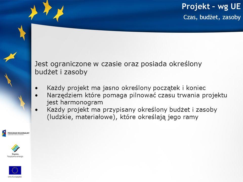 Projekt – wg UE Jest ograniczone w czasie oraz posiada określony