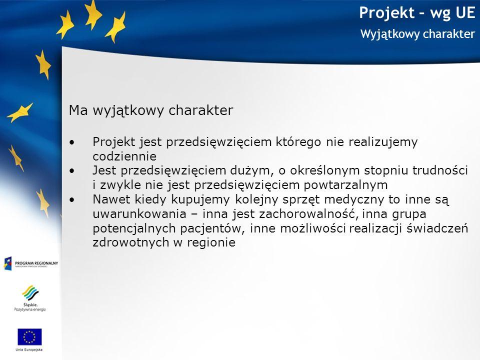 Projekt – wg UE Ma wyjątkowy charakter Wyjątkowy charakter