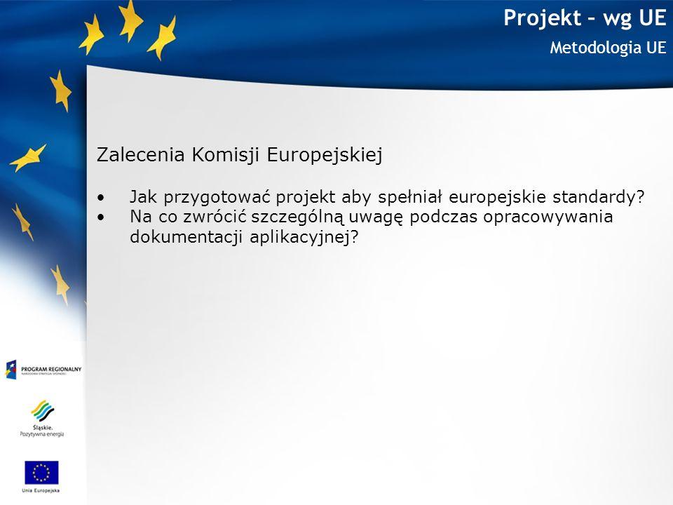 Projekt – wg UE Zalecenia Komisji Europejskiej Metodologia UE