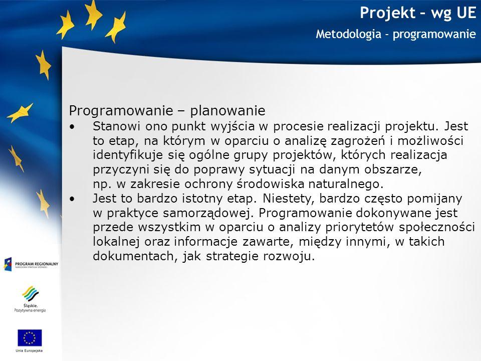 Projekt – wg UE Programowanie – planowanie Metodologia - programowanie