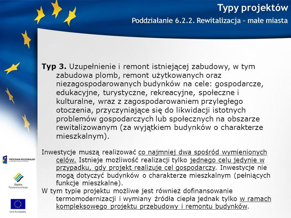 Typy projektów Poddziałanie 6.2.2. Rewitalizacja – małe miasta