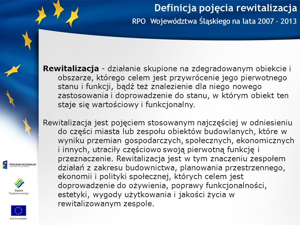 Definicja pojęcia rewitalizacja