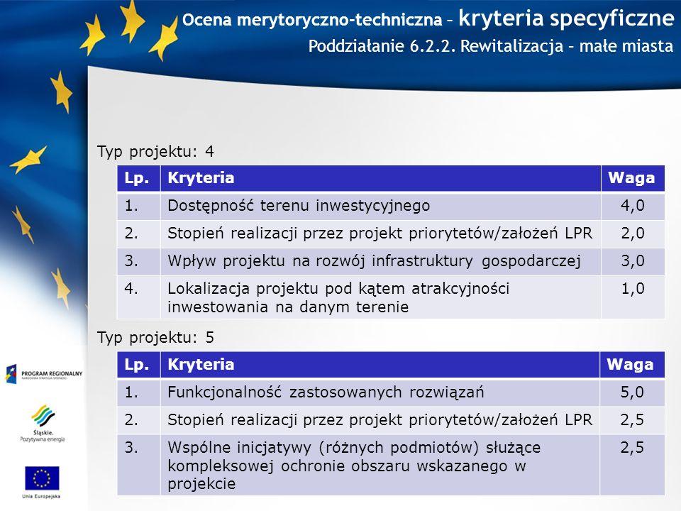 Ocena merytoryczno-techniczna – kryteria specyficzne