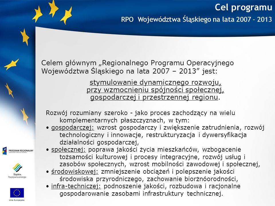 Cel programu RPO Województwa Śląskiego na lata 2007 - 2013